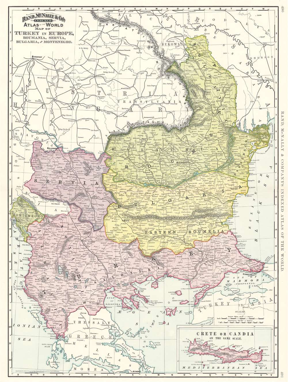 Map of Turkey in Europe, Roumania, Servia, Bulgaria and Montenegro. - Main View