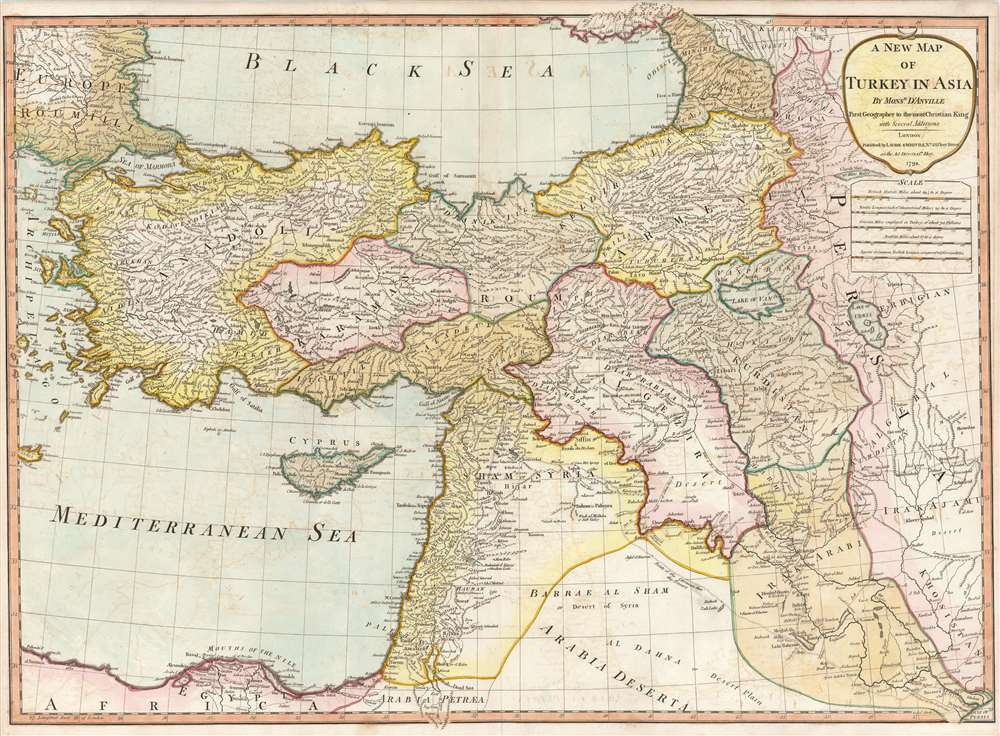1794 Laurie and Whittle Map of Turkey, Cyprus, and the Middle East