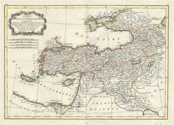 Carte de la Turquie D'Asie Presque entiere Contenant l'Anatolie, La Georgie, l'Armenie, Le Curdistan, l'Alge-zira, l'Irak-Arabi, La Syrie etc.