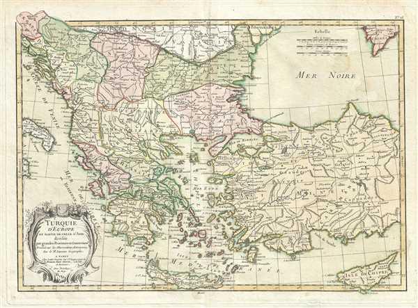 Turquie d'Europe et Partie de Celle d'Asie divisee par grandes Provinces et Gouvernemts.