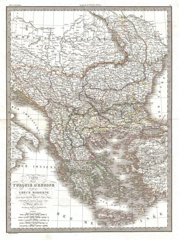 Carte de la Turquie d'Europe et de la Grece Moderne. - Main View