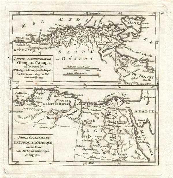 Partie Occidentale de la Turquie d'Afrique où l'on trouve les Royaumes d'Alger, de Tunis et partie de Tripoli. Par le Sr. Robert Geog. du Roi / Partie Orientale de la Turquie d'Afrique où l'on trouve une partie du Royaume de Tripoli et l'Egypte.