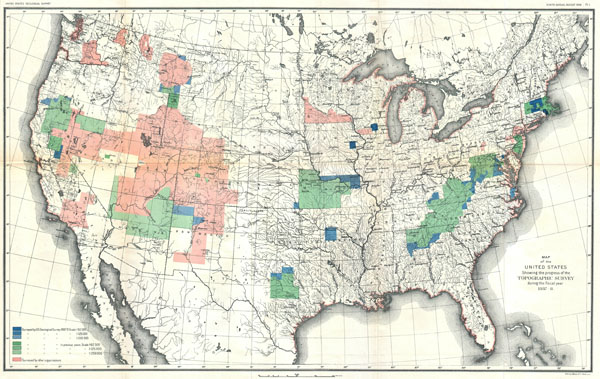 Map of the United States Showing  the Progress of the Topographic Survey during the Fiscal Year 1887-8. - Main View