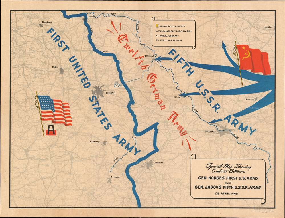 Special Map Showing Contact Between Gen. Hodges' First U.S. Army and Gen. Jadov's Fifth U.S.S.R. Army 25 April 1945. - Main View