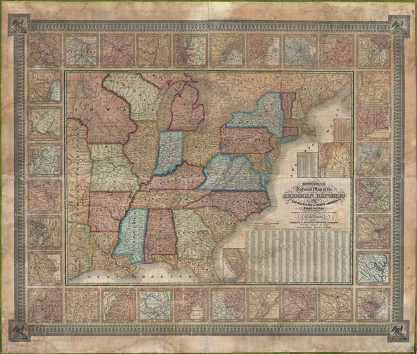 Mitchell�s National Map of the American Republic or The United States of North America. Together with Maps of the Vicinities of Thirty-Two Principal Cities and Towns in the Union.
