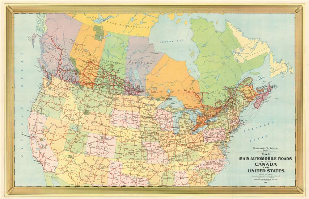 Road Map Usa And Canada Map Indicating Main Automobile Roads Between Canada and United