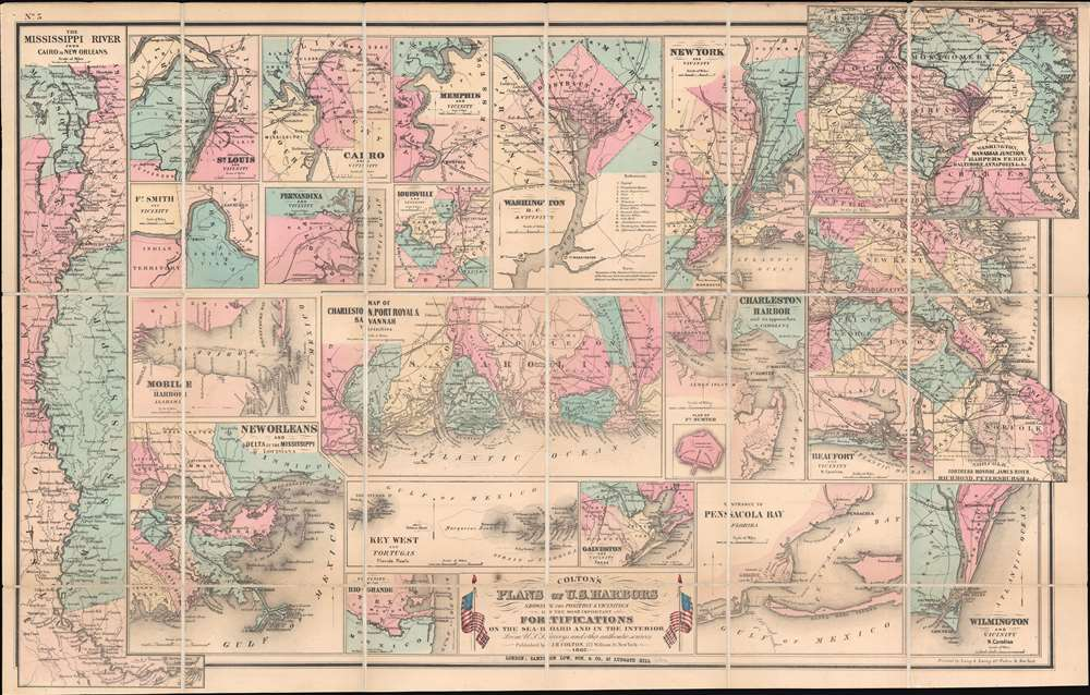 1862 Colton Civil War Map of the United States Detailing Harbors