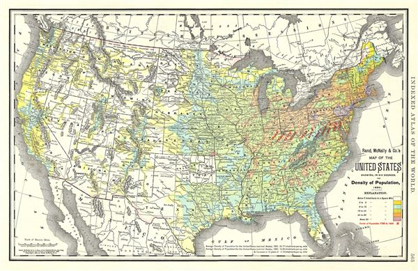 Map of the United States showing, in six degrees, the Density of Population, 1890.
