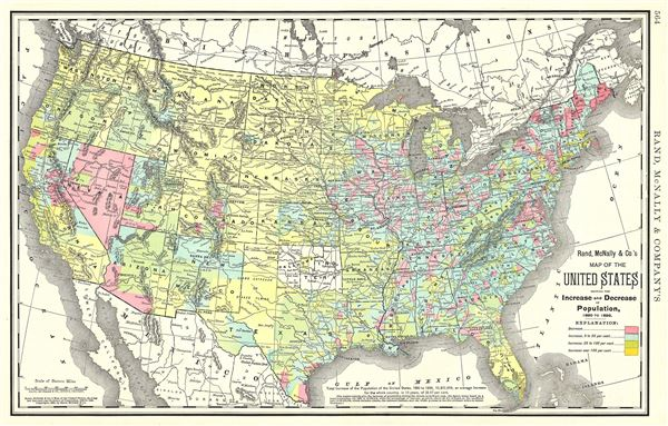 Map of the United States showing the Increase and Decrease of Population, 1880 to 1890.