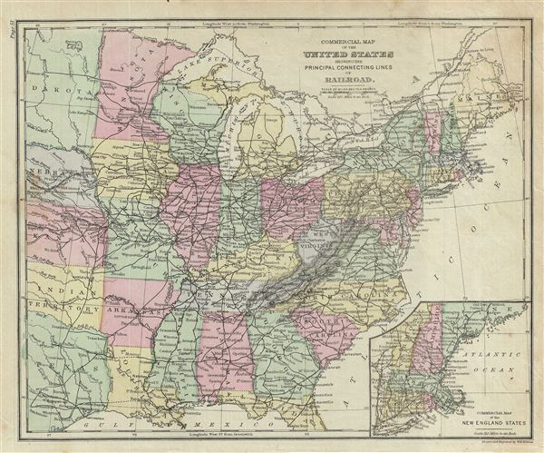 Commercial Map of the United States showing the Principal Connecting Lines of Railroad.