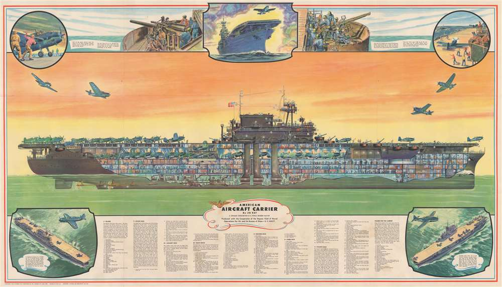 American Aircraft Carrier. A Detailed Cross-Section of a Typical Modern Flat-Top. - Main View