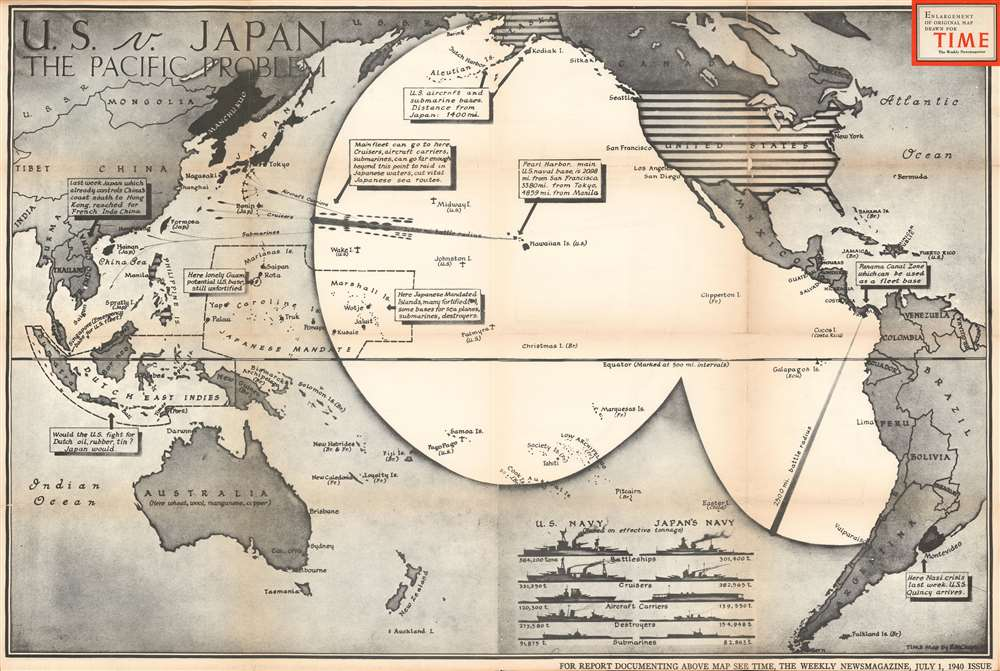 U.S. v. Japan The Pacific Problem.: Geographicus Rare ...
