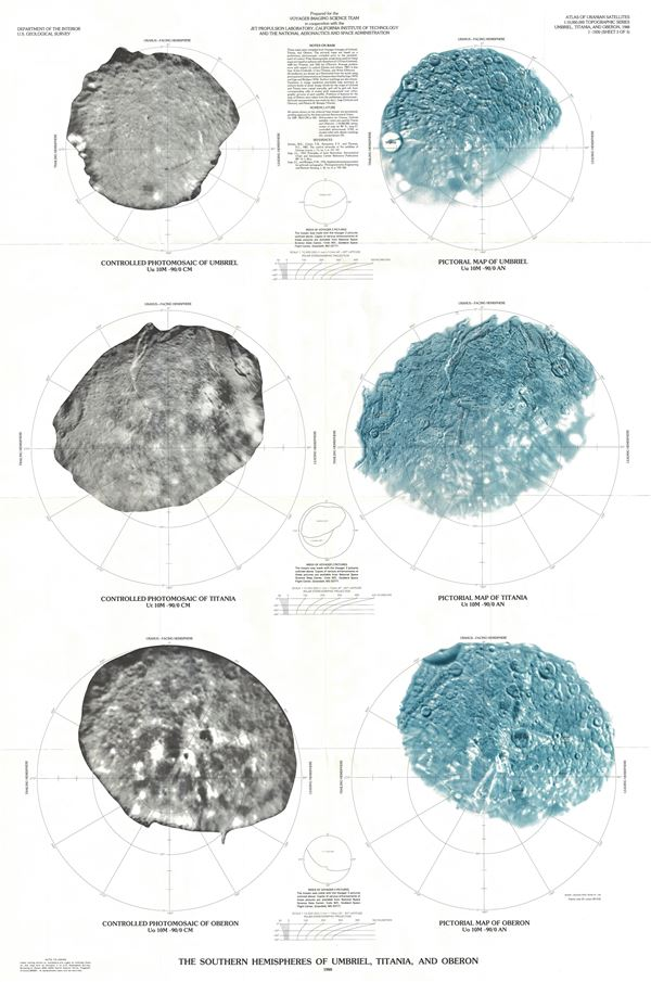The Southern Hemispheres of Umbriel, Titania, and Oberon. - Main View