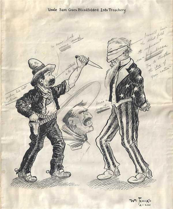 1917 Manuscript Political Cartoon of American-Mexican Relations