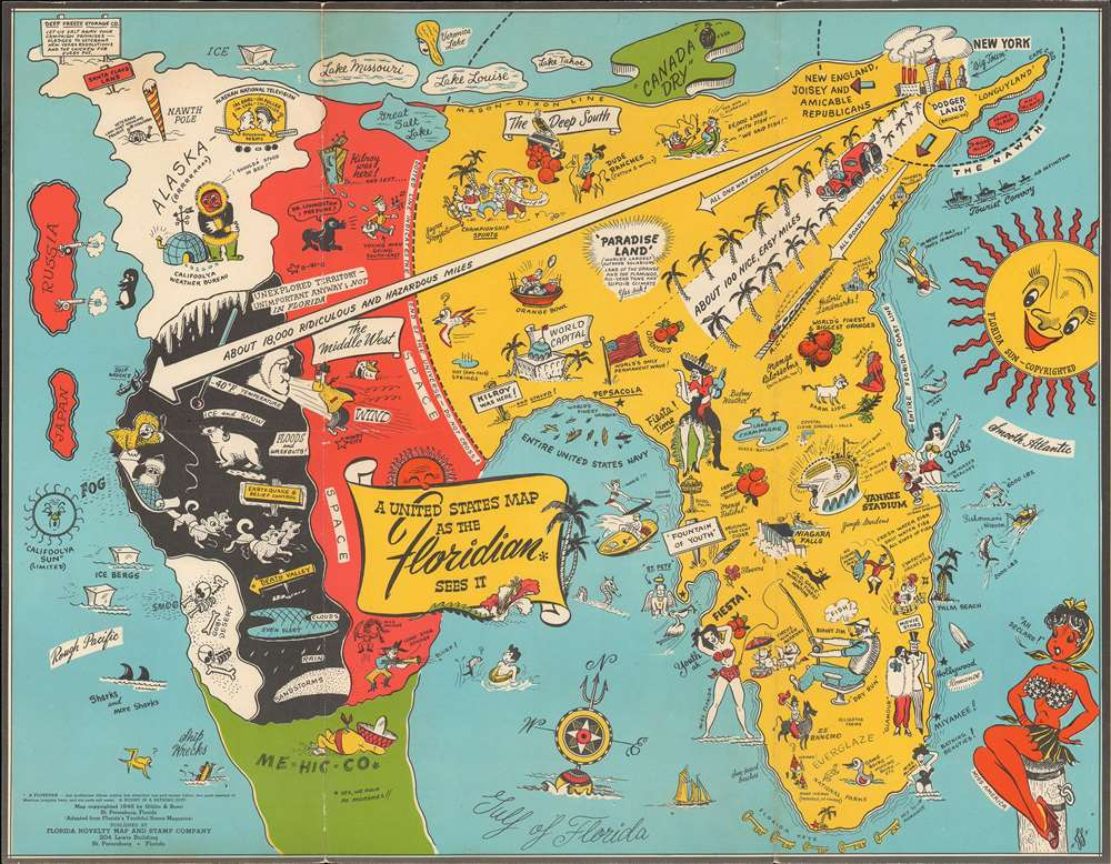1948 Swenningsen Map of the 'United States as Floridan Sees It'