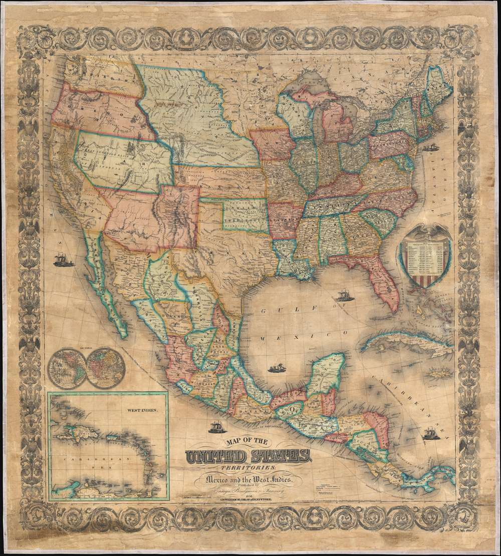 Map of the United States, with its Territories; also Mexico ...