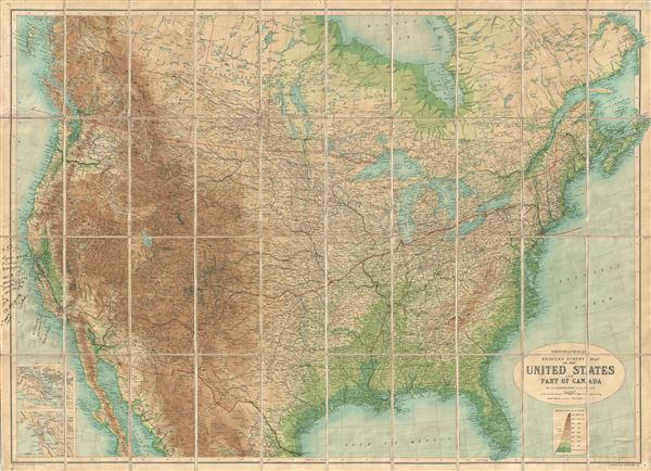 Orographical Reduced Survey Map of the United States and Part of Canada. - Main View