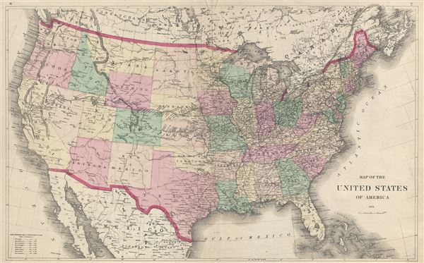 Map of the United States of America 1873.
