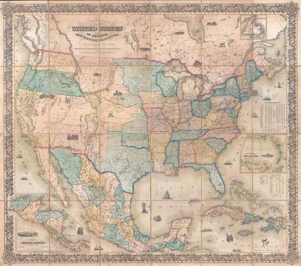 Coltons Map Of The United States Of America The British Provinces - Pacific-ocean-on-us-map