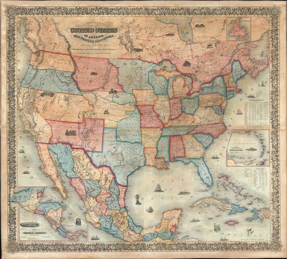 Colton's map of the United States of America, the British provinces, Mexico and the West Indies. Showing the country from the Atlantic to the Pacific Ocean. - Main View
