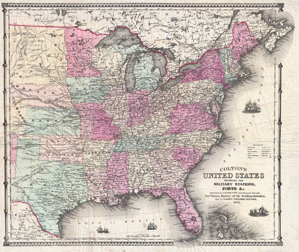 Colton�s United States showing the Military Stations, Forts & co.