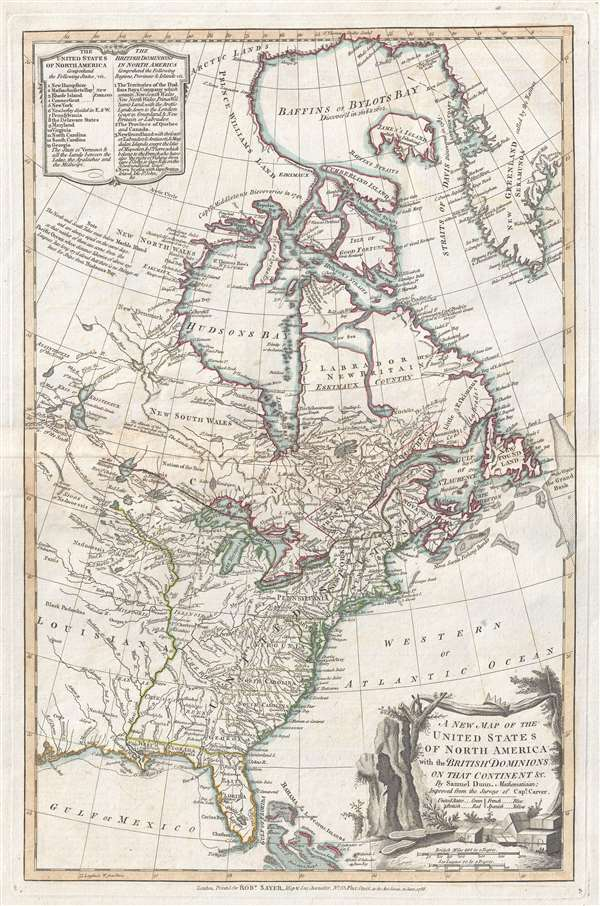 New Map Of America.A New Map Of The United States Of North America With The British