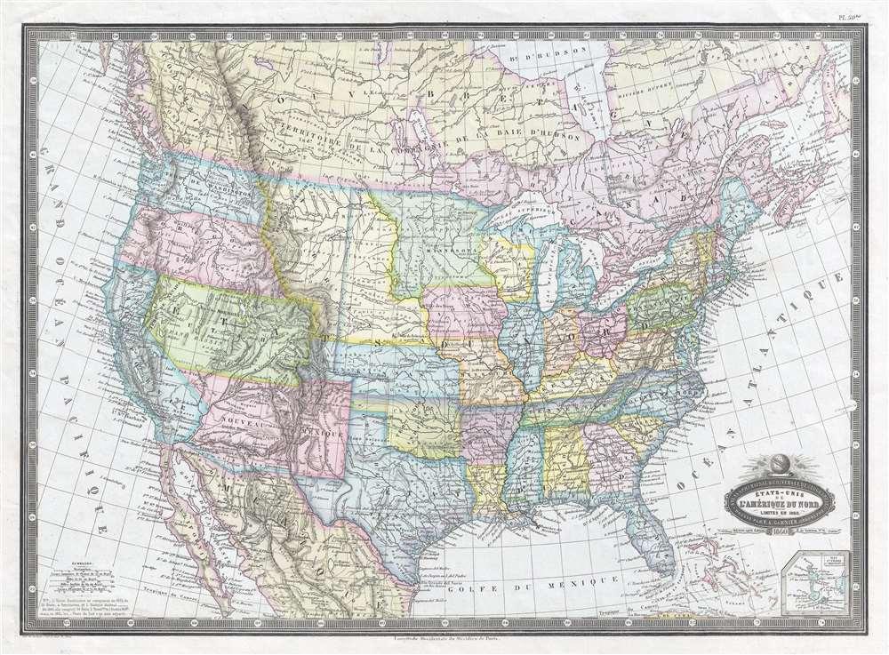 États-Unis de l'Amérique du Nord. Limites en 1860.