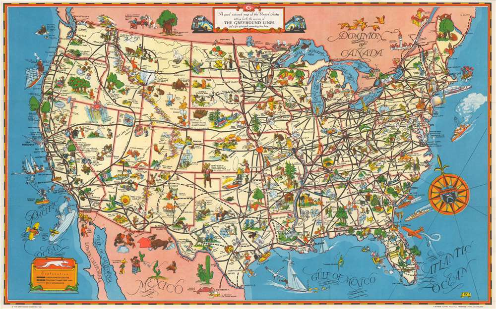 A Good - Natured Map of the United States Setting Forth the Services of The Greyhound Lines and a Few Principal Connecting Bus Lines. - Main View