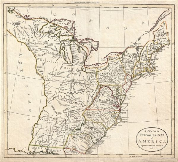 A Map of the United States of America Agreeable to the Peace of 1783.