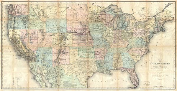 Map of the United States and Territories, Showing the extent of Public Surveys and other details, constructed from the Plats and official sources of the General Land Offices, Under the direction of Hon. Jos. S. Wilson, Commissioner by Joseph Gorlinsi, Draughtsman, 1868. - Main View