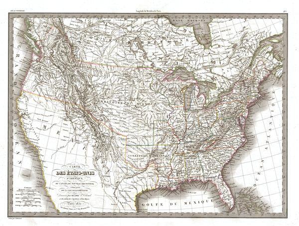 Carte des Etats-Unis d'Amerique du Canada, du Nouveau Brunswick de la Nouvelle Bretagne.