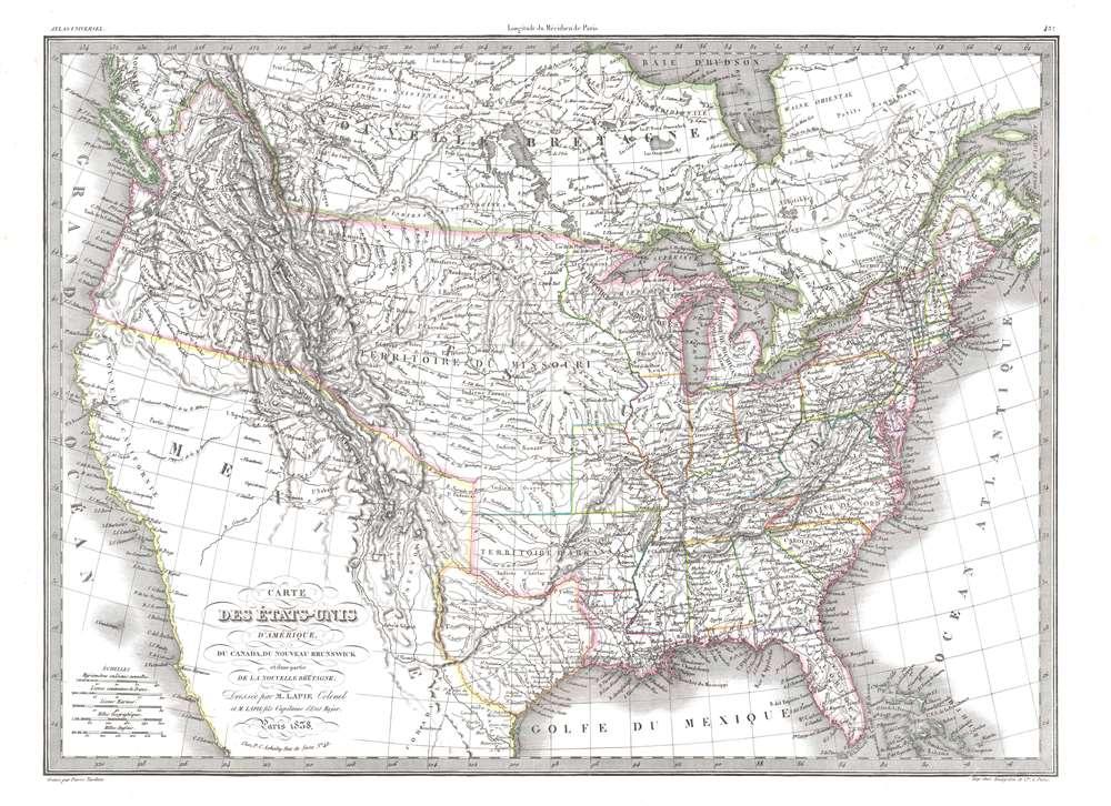 Carte des États-Unis d'Amérique, du Canada, du Nouveau Brunswick et d'une partie de la Nouvelle Bretagne. - Main View