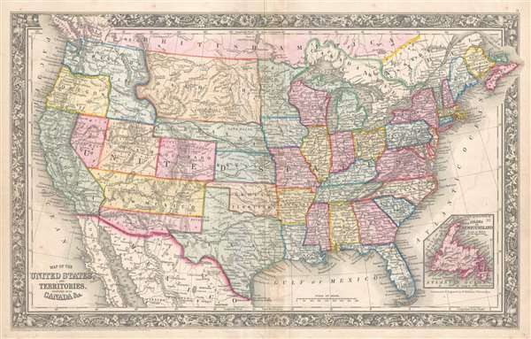 Map of the United States and Territories. Together with Canada etc ...