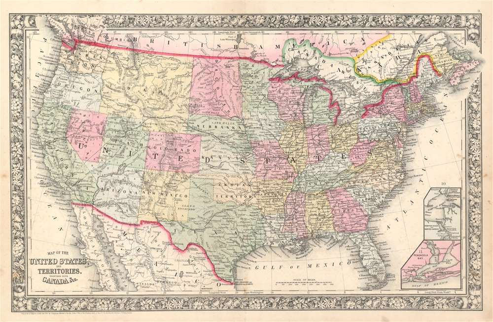 Map of the United States, and Territories. Together with Canada etc. - Main View