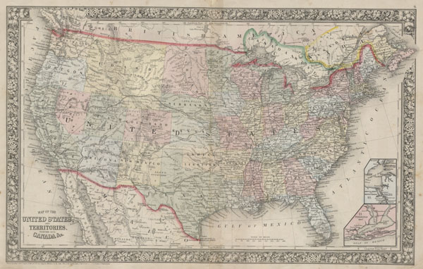 Map of the United States, and Territories, together with Canada & c.