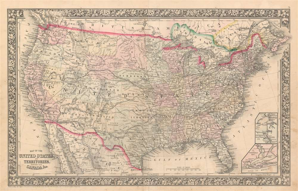 Map of the United States and Territories. Together with Canada etc. - Main View