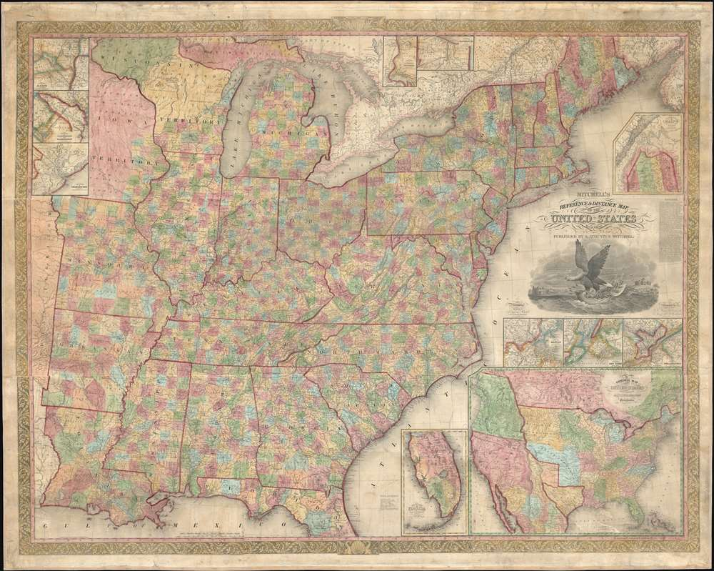 Mitchell's Reference and Distance Map of the United States. - Main View