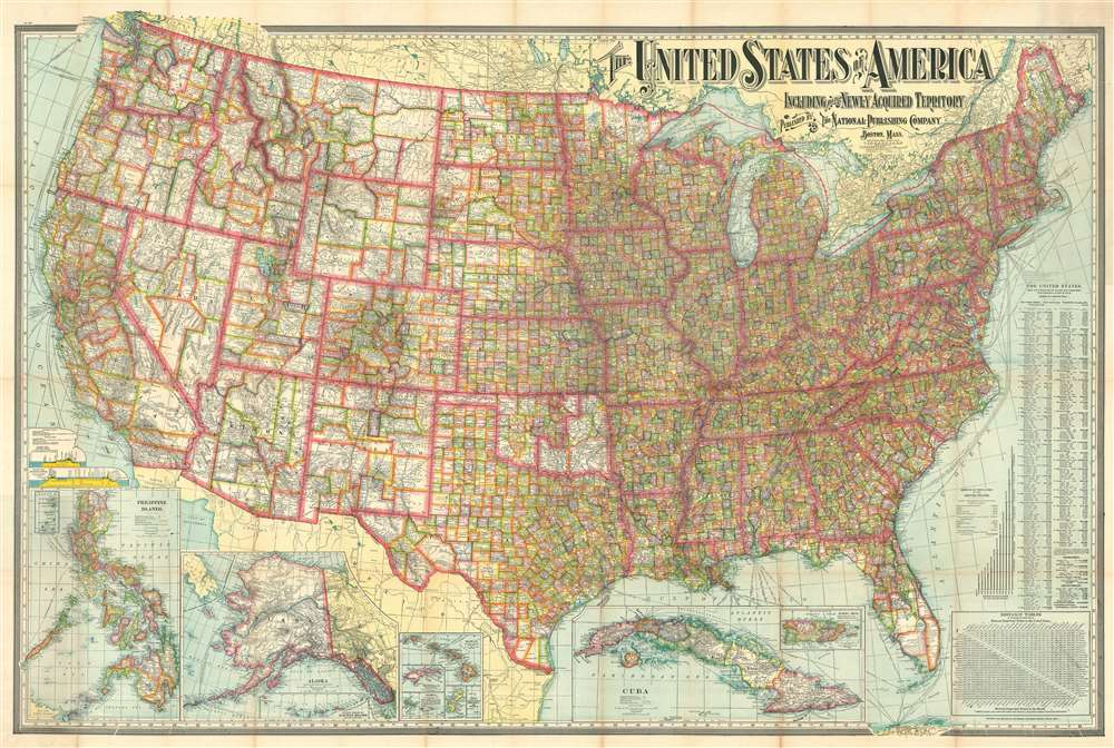 1902 National Publishing Map of the United States and its Territories
