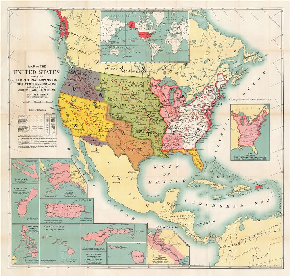 Map of the United States Showing the Territorial Expansion of a Century - 1804 - 1904. - Main View