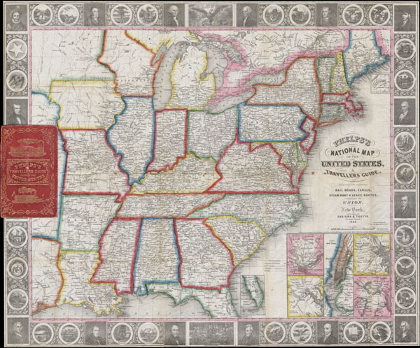 Phelps's National Map of the United States, A Travellers Guide. Embracing the Principal Rail Roads, Canals, Steam Boat & Stage Routes throughout the Union.