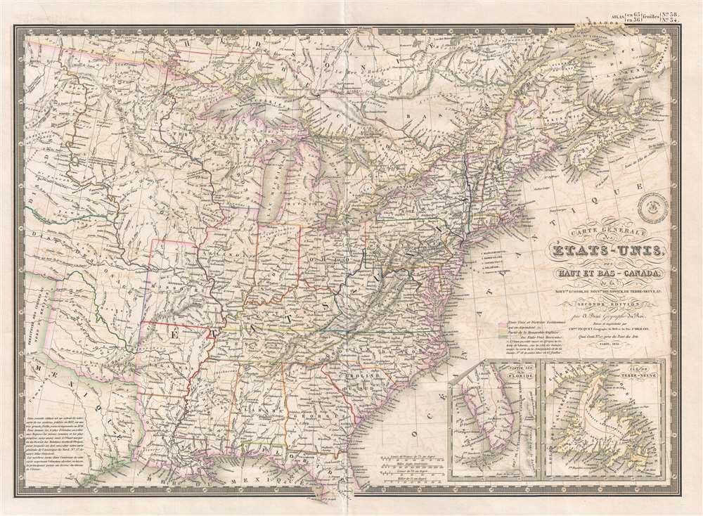 Carte Générale des États-Unis, des Haut et Bas-Canada, de la Nouvelle Ecosse, du Nouveau Brunswick, de Terre-Neuve, etc. - Main View