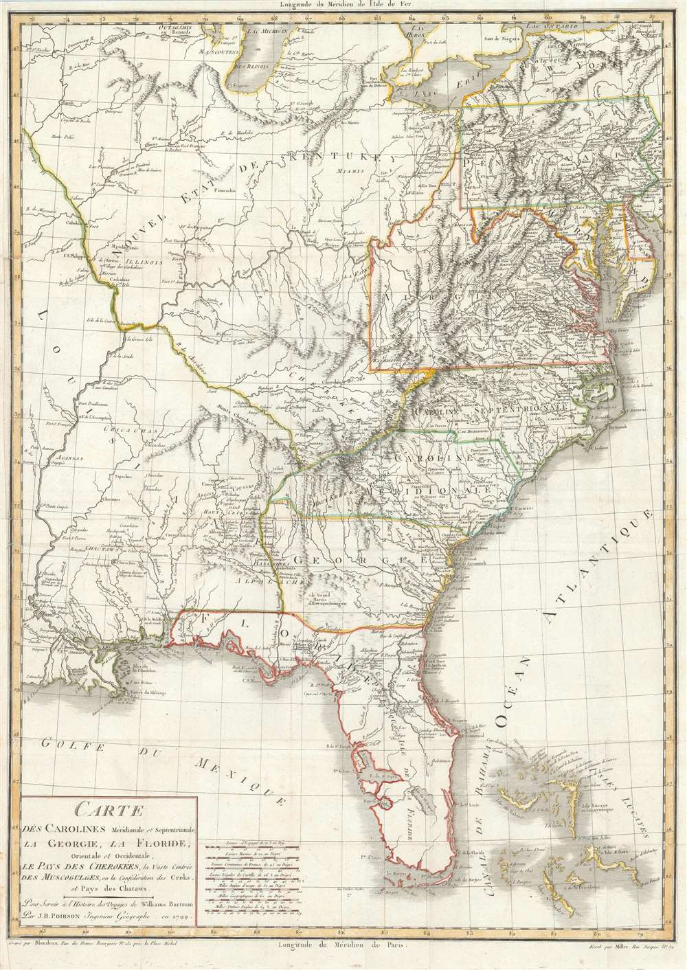 1799 Poirson Map of the United States