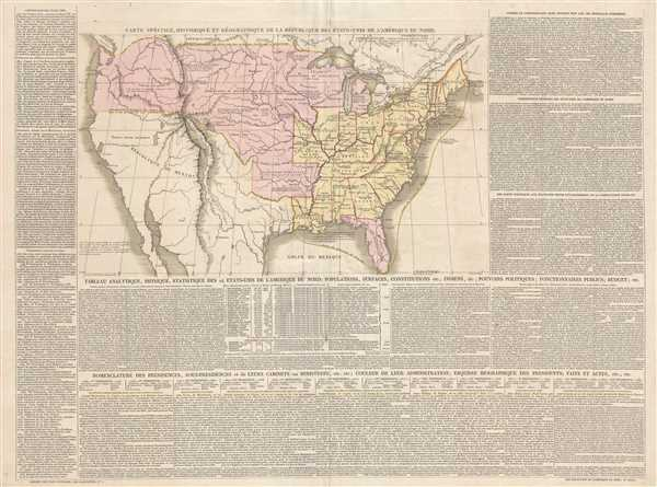 Carte Spéciale, Historique, et Géographique de la République des États-Unis de L'Amérique du Nord.