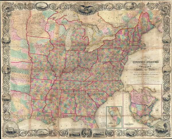 Map of the United States of America Including Canada, and a large portion of Texas, Showing Base Meridian and Township Lines of the U.S. Surveys, Including Lands alotted to the Indian Tribes west of the Mississippi, The various internal improvements. - Main View