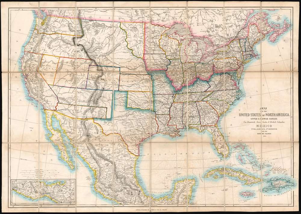 Map of the United States of North America, Upper and Lower ...