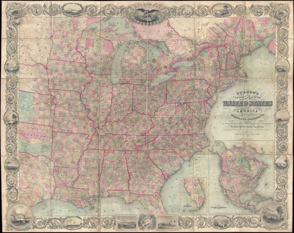 Map of the United States of America Including Canada, and a large ...