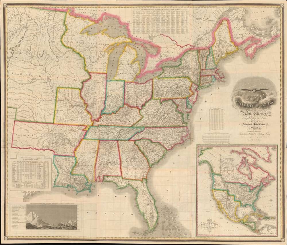 Map of the United States of North America Compiled from the Latest and most Authentic Information by David H. Vance. - Main View