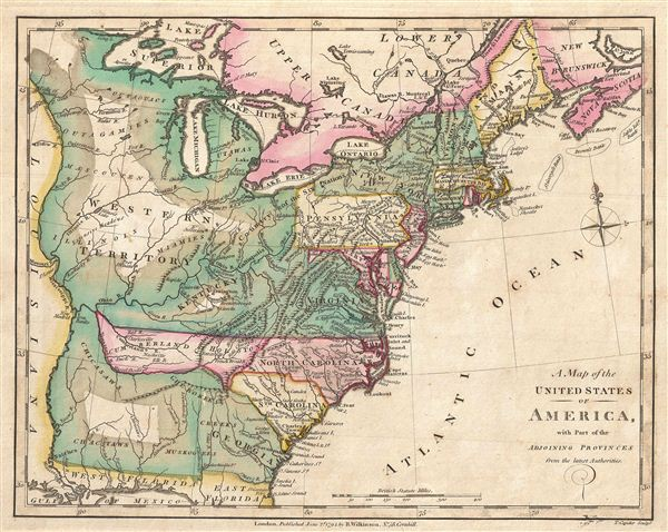 A Map of the United States of America, with Part of the Adjoining Provinces from the latest Authorities. - Main View