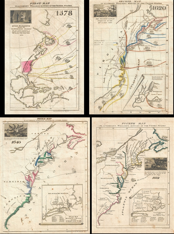 First Map To Accompany Willards History Of The United States - 1829 us map