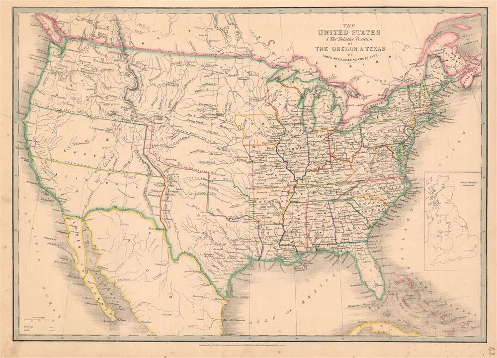 The United States and The Relative Position of The Oregon and Texas. - Main View